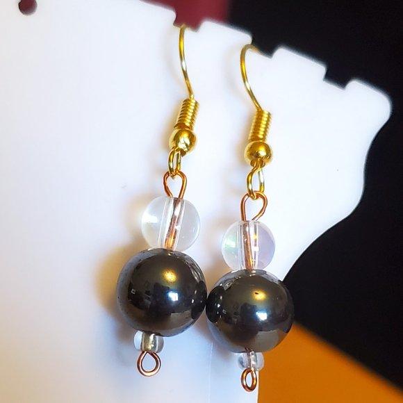 Gold Tone Hook Glass Bead Dangle Earrings Artisan
